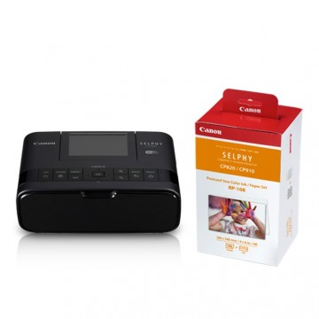 Canon SELPHY CP1300 Compact Photo Printer & RP-108 (4R Size Photo Paper & Ink Cartridge) Bundle