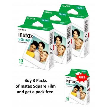Fujifilm Instax Square Film [Bundle of 3 packs + 1 Free]
