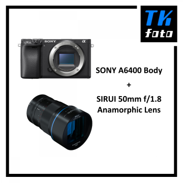 SONY A6400 Body  + Sirui 50mm f/1.8 Anamorphic Lens Bundle (Free: 64GB SD Card, Bag & CarrySpeed Strap)