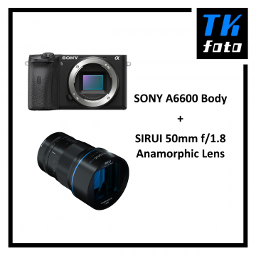 SONY A6600 Body + Sirui 50mm f/1.8 Anamorphic Lens Bundle (Free: 64GB SD Card, Bag & CarrySpeed Strap)